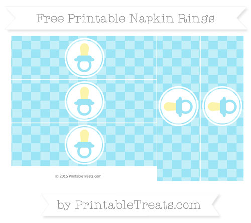 Free Pastel Aqua Blue Checker Pattern Baby Pacifier Napkin Rings