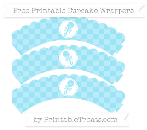 Free Pastel Aqua Blue Checker Pattern Baby Rattle Scalloped Cupcake Wrappers