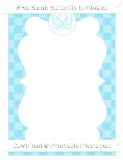 Free Pastel Aqua Blue Checker Pattern Blank Butterfly Invitation