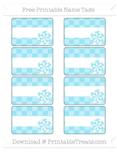 Free Pastel Aqua Blue Checker Pattern Cheer Pom Pom Tags