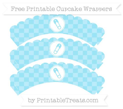 Free Pastel Aqua Blue Checker Pattern Diaper Pin Scalloped Cupcake Wrappers