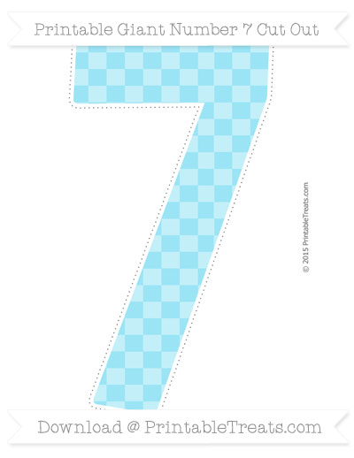 Free Pastel Aqua Blue Checker Pattern Giant Number 7 Cut Out