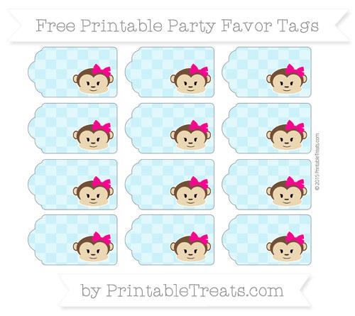 Free Pastel Aqua Blue Checker Pattern Girl Monkey Party Favor Tags