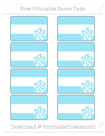 Free Pastel Aqua Blue Cheer Pom Pom Tags