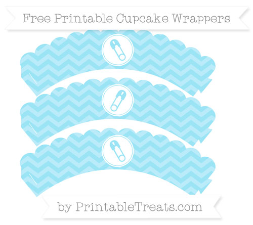 Free Pastel Aqua Blue Chevron Diaper Pin Scalloped Cupcake Wrappers