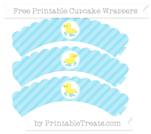 Free Pastel Aqua Blue Diagonal Striped Baby Duck Scalloped Cupcake Wrappers