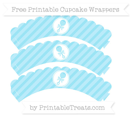 Free Pastel Aqua Blue Diagonal Striped Baby Rattle Scalloped Cupcake Wrappers