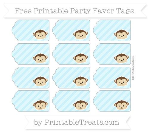 Free Pastel Aqua Blue Diagonal Striped Boy Monkey Party Favor Tags