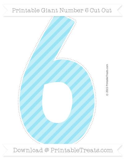 Free Pastel Aqua Blue Diagonal Striped Giant Number 6 Cut Out