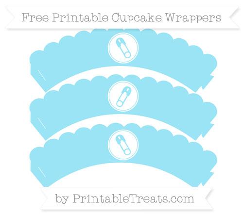 Free Pastel Aqua Blue Diaper Pin Scalloped Cupcake Wrappers