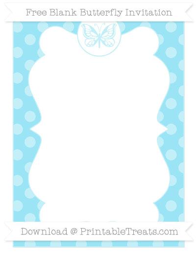 Free Pastel Aqua Blue Dotted Pattern Blank Butterfly Invitation