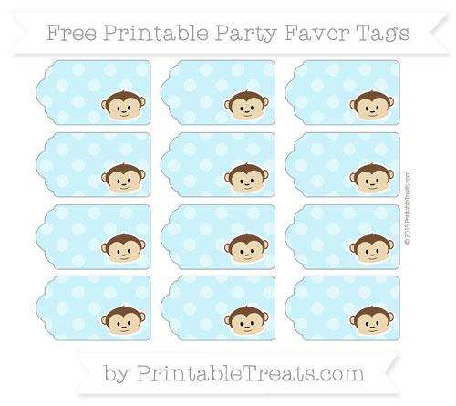 Free Pastel Aqua Blue Dotted Pattern Boy Monkey Party Favor Tags