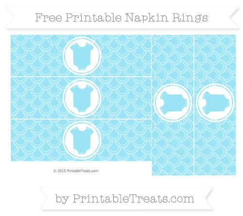 Free Pastel Aqua Blue Fish Scale Pattern Baby Onesie Napkin Rings