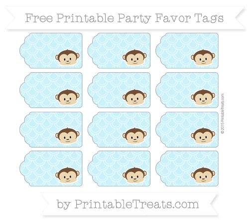 Free Pastel Aqua Blue Fish Scale Pattern Boy Monkey Party Favor Tags