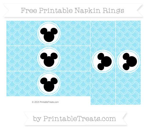 Free Pastel Aqua Blue Fish Scale Pattern Mickey Mouse Napkin Rings