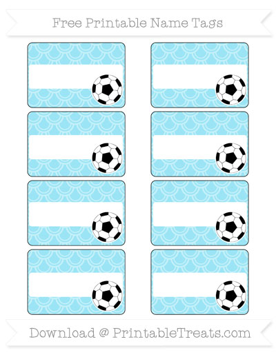 Free Pastel Aqua Blue Fish Scale Pattern Soccer Name Tags