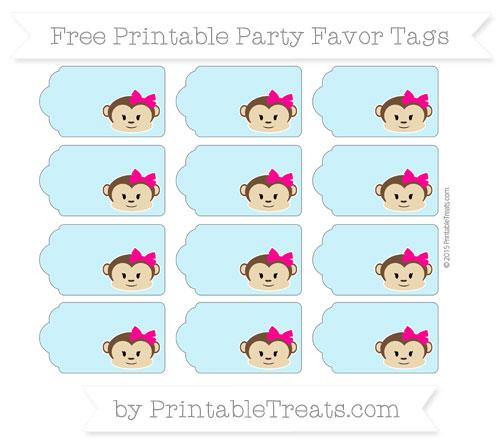 Free Pastel Aqua Blue Girl Monkey Party Favor Tags