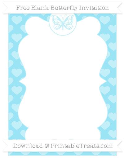 Free Pastel Aqua Blue Heart Pattern Blank Butterfly Invitation
