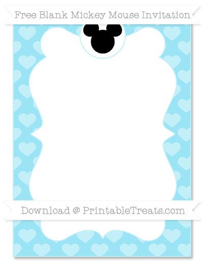 Free Pastel Aqua Blue Heart Pattern Blank Mickey Mouse Invitation
