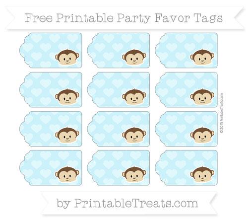 Free Pastel Aqua Blue Heart Pattern Boy Monkey Party Favor Tags