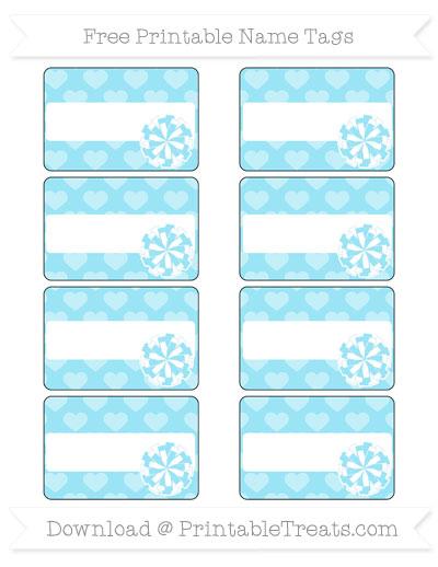 Free Pastel Aqua Blue Heart Pattern Cheer Pom Pom Tags