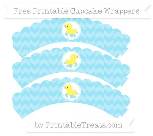 Free Pastel Aqua Blue Herringbone Pattern Baby Duck Scalloped Cupcake Wrappers