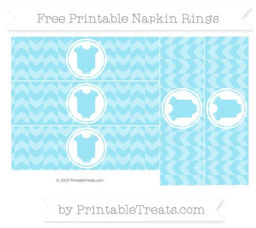 Free Pastel Aqua Blue Herringbone Pattern Baby Onesie Napkin Rings