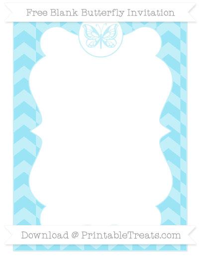 Free Pastel Aqua Blue Herringbone Pattern Blank Butterfly Invitation