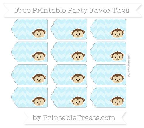 Free Pastel Aqua Blue Herringbone Pattern Boy Monkey Party Favor Tags