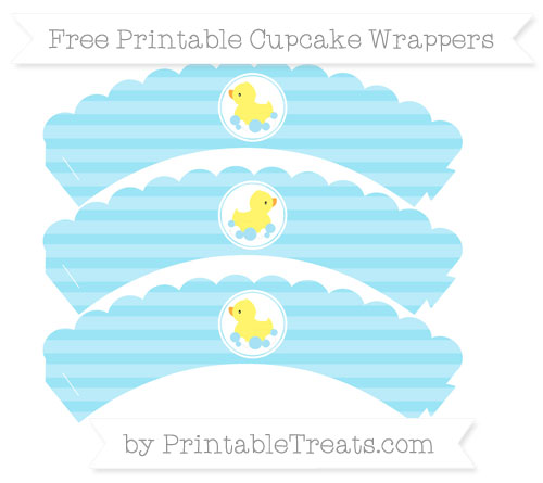 Free Pastel Aqua Blue Horizontal Striped Baby Duck Scalloped Cupcake Wrappers