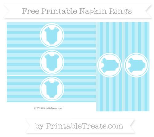Free Pastel Aqua Blue Horizontal Striped Baby Onesie Napkin Rings