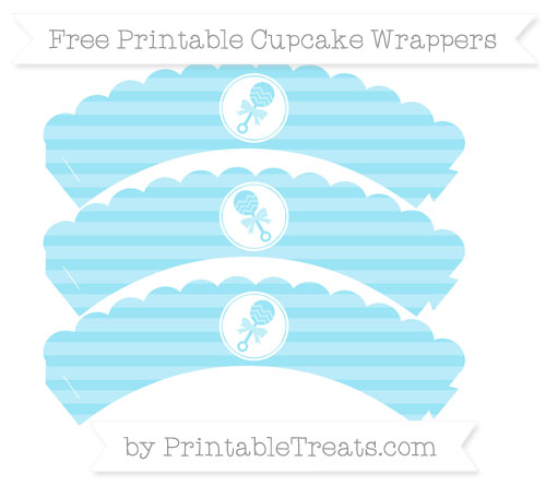 Free Pastel Aqua Blue Horizontal Striped Baby Rattle Scalloped Cupcake Wrappers