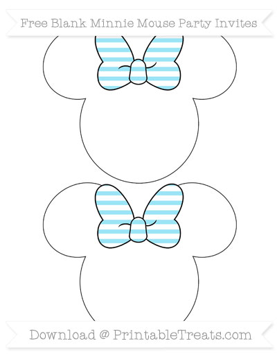 Free Pastel Aqua Blue Horizontal Striped Blank Minnie Mouse Party Invites