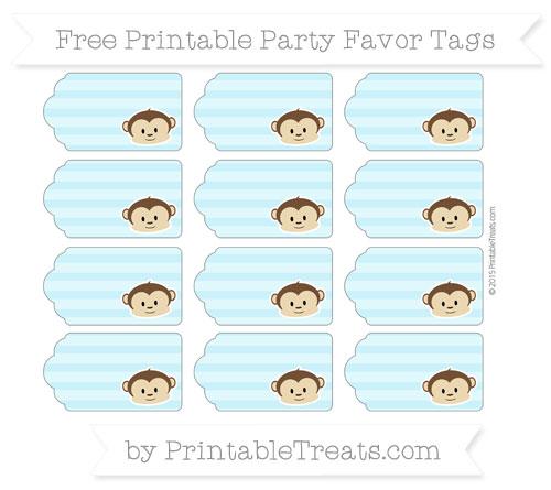 Free Pastel Aqua Blue Horizontal Striped Boy Monkey Party Favor Tags