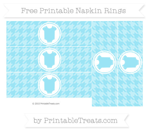 Free Pastel Aqua Blue Houndstooth Pattern Baby Onesie Napkin Rings