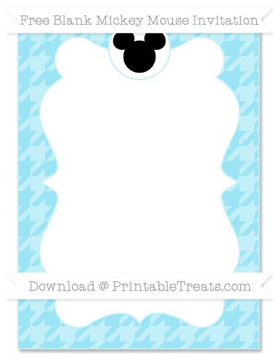 Free Pastel Aqua Blue Houndstooth Pattern Blank Mickey Mouse Invitation