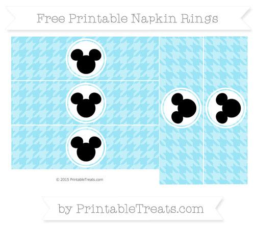 Free Pastel Aqua Blue Herringbone Pattern Mickey Mouse Napkin Rings
