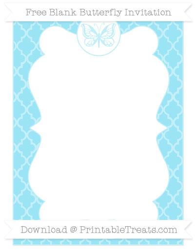 Free Pastel Aqua Blue Moroccan Tile Blank Butterfly Invitation