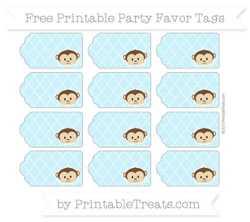Free Pastel Aqua Blue Moroccan Tile Boy Monkey Party Favor Tags