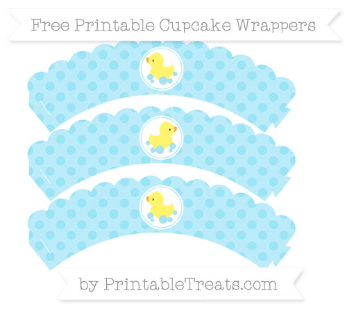 Free Pastel Aqua Blue Polka Dot Baby Duck Scalloped Cupcake Wrappers