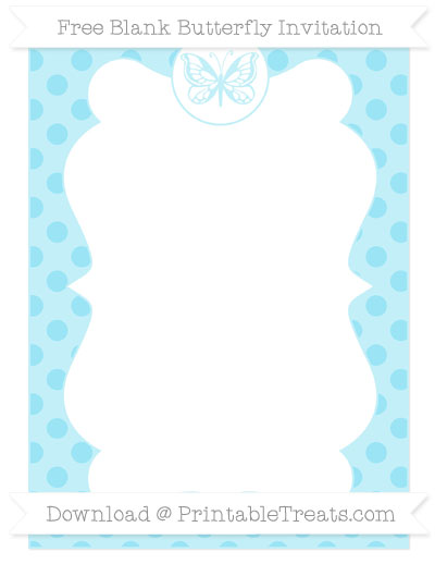 Free Pastel Aqua Blue Polka Dot Blank Butterfly Invitation