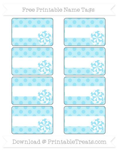 Free Pastel Aqua Blue Polka Dot Cheer Pom Pom Tags