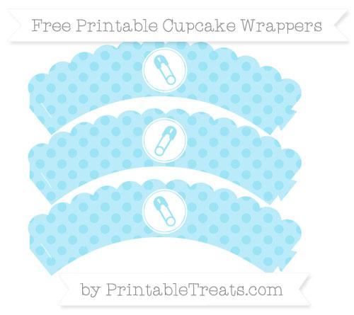 Free Pastel Aqua Blue Polka Dot Diaper Pin Scalloped Cupcake Wrappers