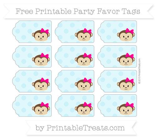 Free Pastel Aqua Blue Polka Dot Girl Monkey Party Favor Tags