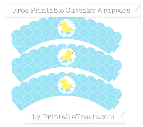 Free Pastel Aqua Blue Quatrefoil Pattern Baby Duck Scalloped Cupcake Wrappers