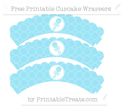 Free Pastel Aqua Blue Quatrefoil Pattern Baby Rattle Scalloped Cupcake Wrappers
