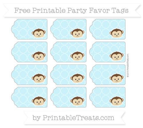Free Pastel Aqua Blue Quatrefoil Pattern Boy Monkey Party Favor Tags