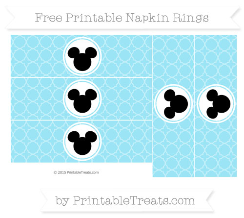 Free Pastel Aqua Blue Quatrefoil Pattern Mickey Mouse Napkin Rings