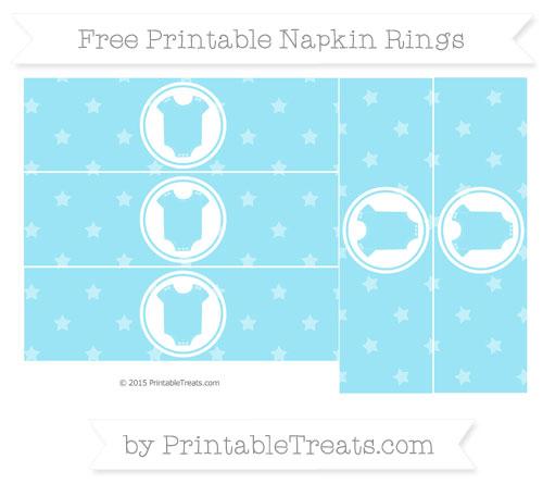 Free Pastel Aqua Blue Star Pattern Baby Onesie Napkin Rings