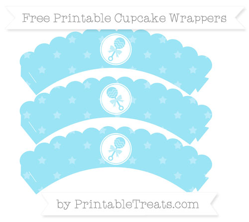 Free Pastel Aqua Blue Star Pattern Baby Rattle Scalloped Cupcake Wrappers